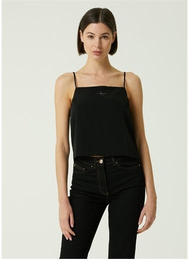 Ck Jeans Ck Jeans 101647764 Kare Yaka Ayarlanabilir Ince Askılı Logolu Kadın Bluz Siyah